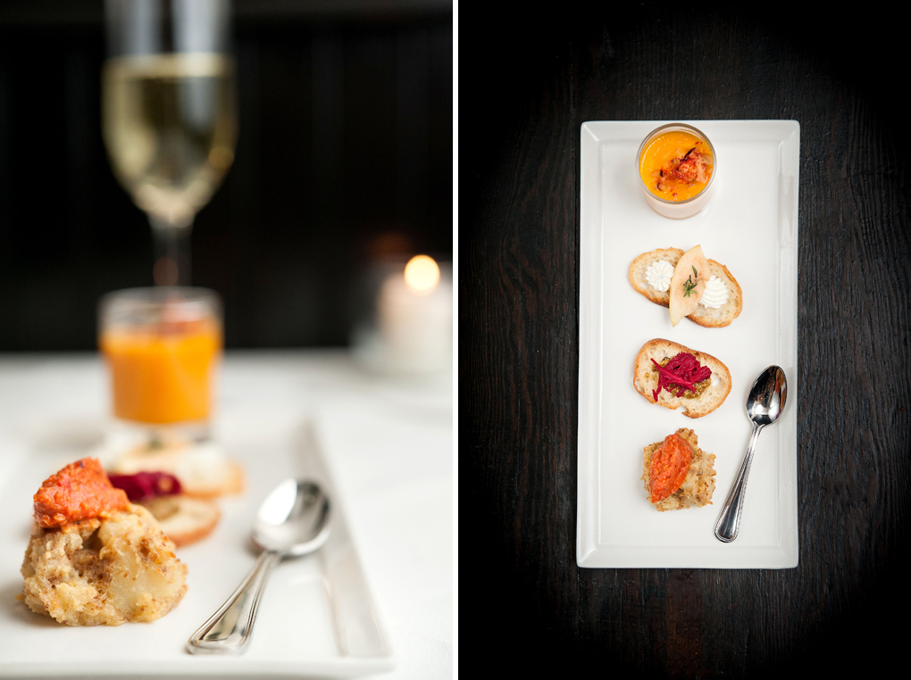 Snacks: Compressed Apple with Chèvre Mousse, Spiced Carrot Soup with Black Plum Compote, Salt Cod Brandade Croquettes with Romesco and Pickled Shredded Beet with Pistachio Butter.  Paired with Sparkling Vouvray, NV.