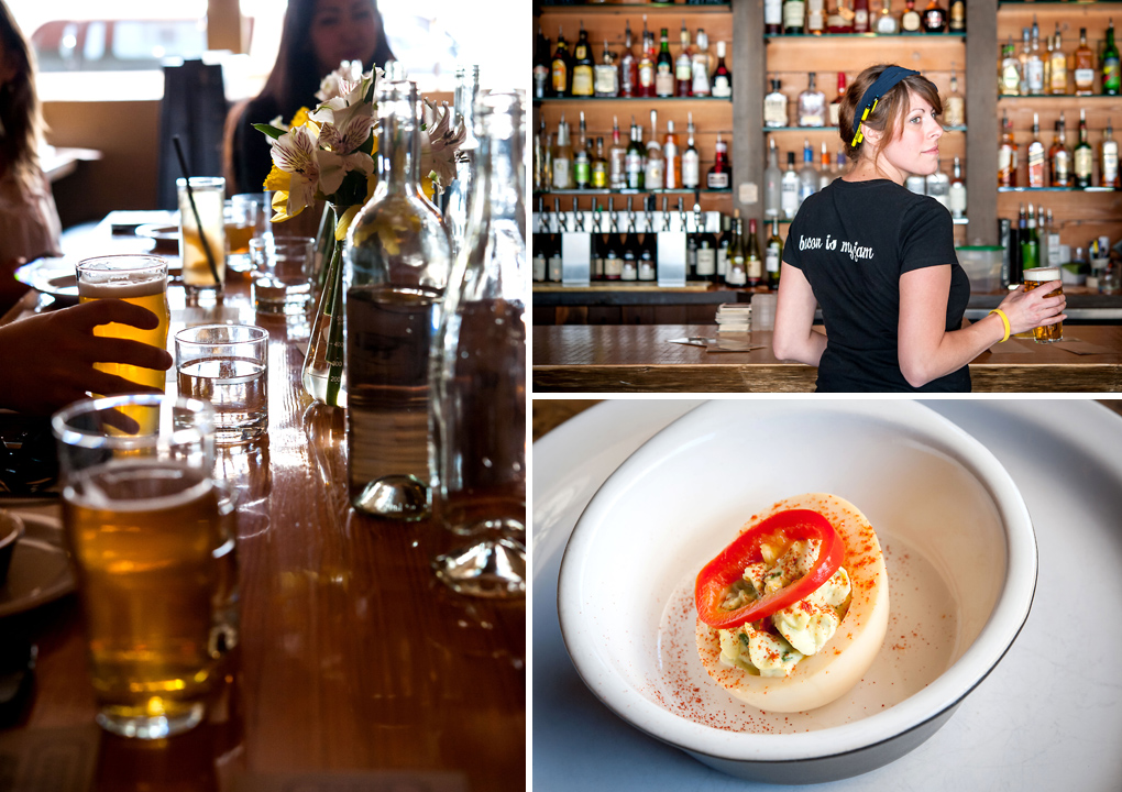Left Photo: great atmosphere and drinks. Top Right: friendly service and bacon jam! Bottom Right: smoked deviled eggs with pickled red chili.