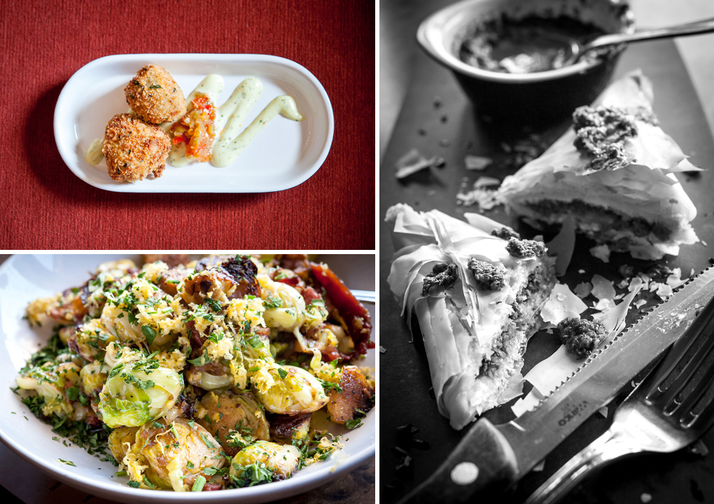 Top Left: crispy baby artichoke hearts with citrus aioli and pepper relish. Bottom Left: caramelized brussels sprouts with bacon, shallots and lemon zest. Right Photo: lamb samosas with cilantro chutney.