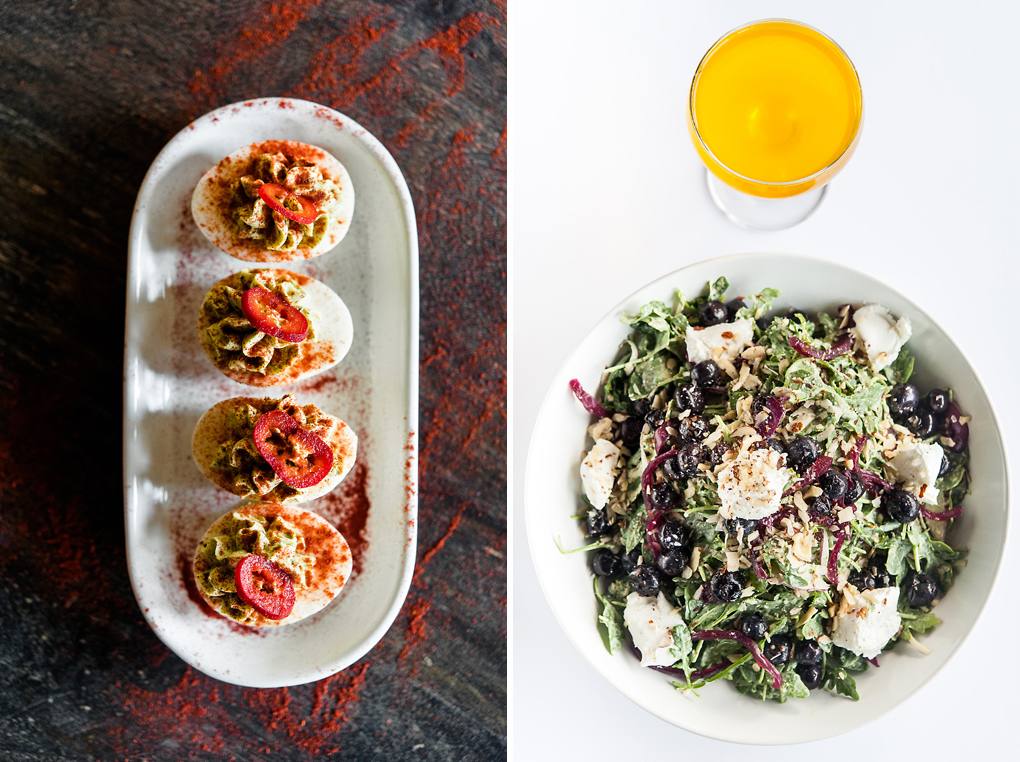 Left: Smoked Deviled Eggs with green goddess, pickled red chili. Right: Pickled Blueberry + Chèvre Salad with arugula, red onion, toasted hazelnuts, green goddess dressing.
