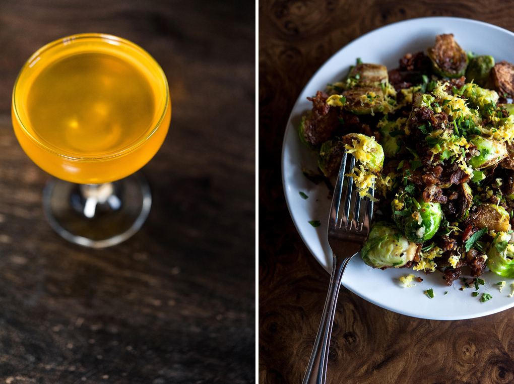 Left: Marigold Cocktail. Right: Caramelized Brussels Sprouts with bacon, shallots and lemon zest.
