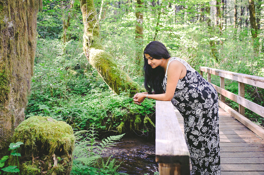 Maternity Photo Shoot in the Woods by a Creek Portland Oregon